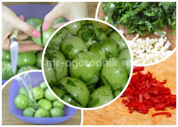 Фаршированные зеленью помидоры