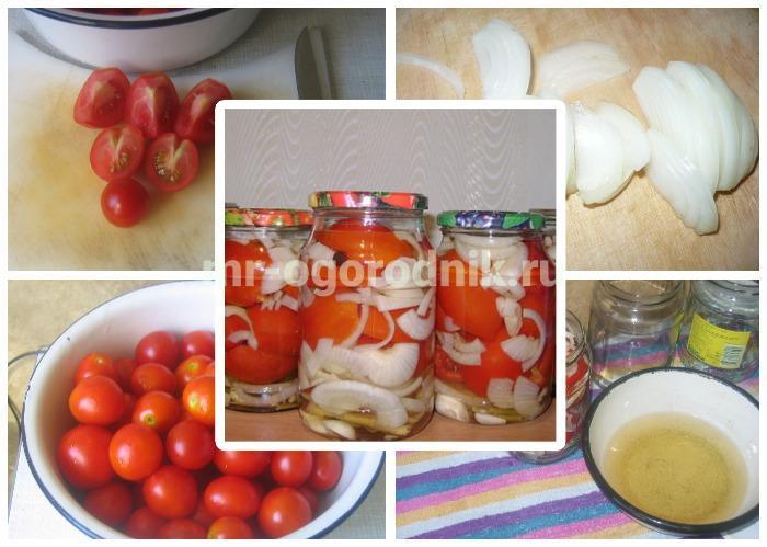 Маринованные помидоры с луком и маслом
