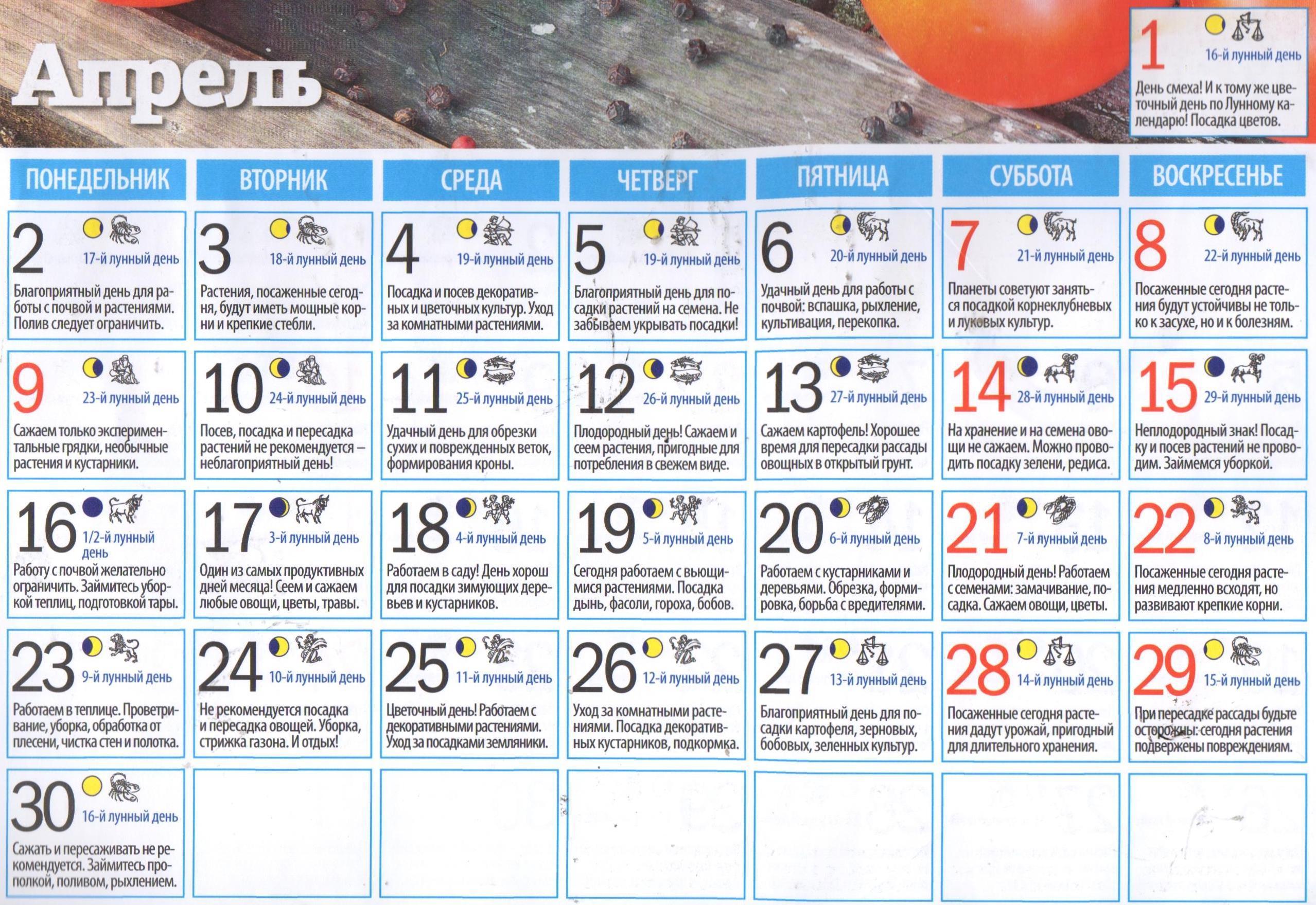 Лунный календарь на апрель 2018