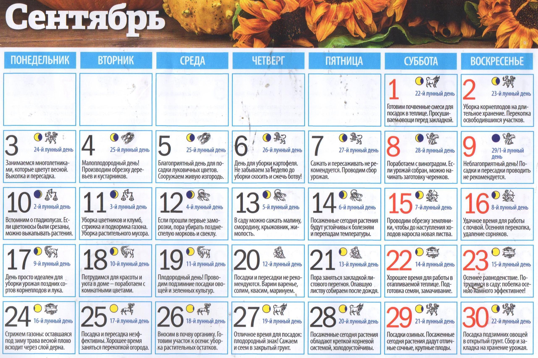 Таблица лунного календаря садовода и огородника на сентябрь 2018