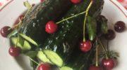 Малосольные огурцы с вишней и мятой в пакете