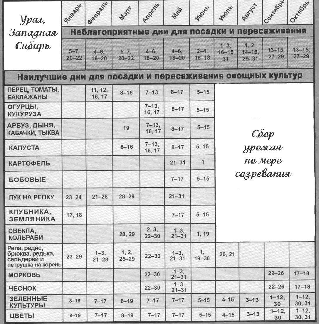 Лунный календарь для Урала 2019