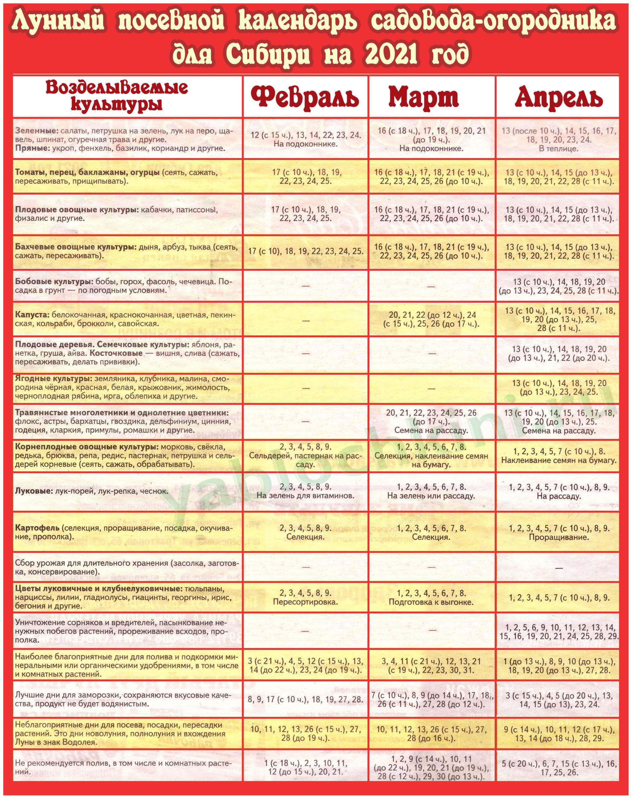 Лунный календарь для Сибири на 2021 год (февраль-апрель)